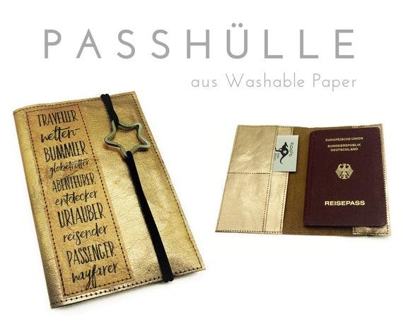 Passhülle | Travel Organizer | Roségold | Washable Paper | Case | Portfolio for passport, ID cards, driver's license, credit card, business card