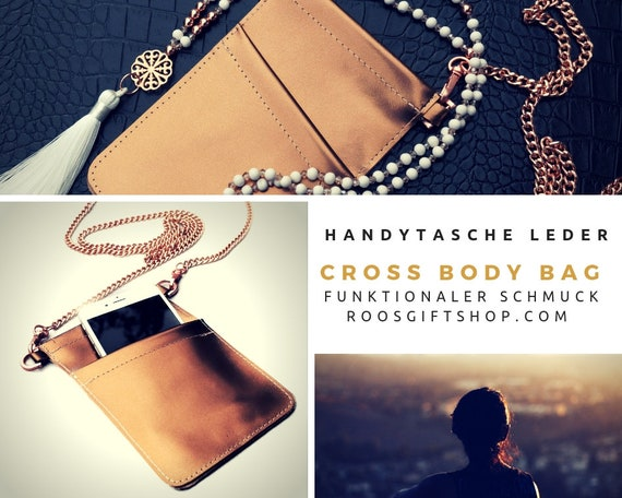 Crossbody Cell Phone Cover | Real leather cellphone shoulder bag | Breast Bags | Shiny Leather | Rose Gold | Chain | Leather Case | Gold | Chain