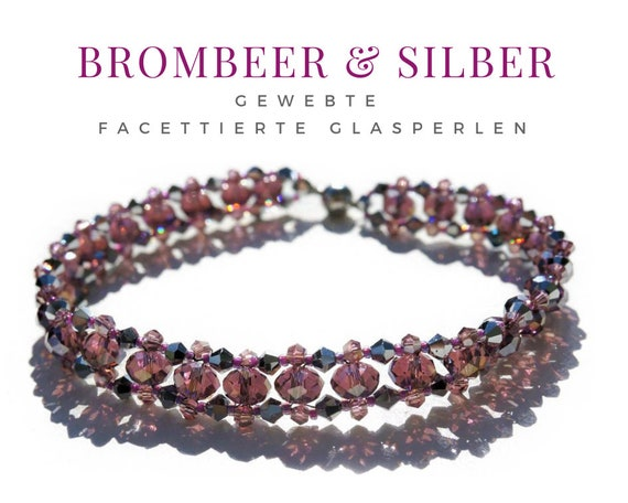 Woven Bracelet | Pearls | Faceted Glass Beads | BlackBerry Bordeaux with Silver | Magnetic Closure | Pearl Bracelet | Bead Weaving