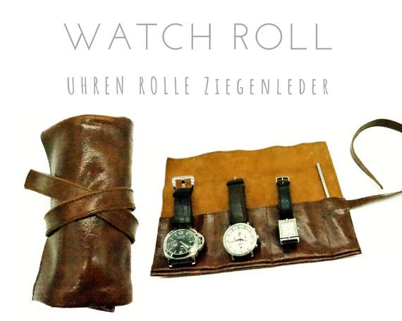 Brown 3-Series Watch Roll | Vintage Goat's leather | Gift for Men | Wristwatches Roll 3 watches | Travel Watches Storage | Watch roll leather