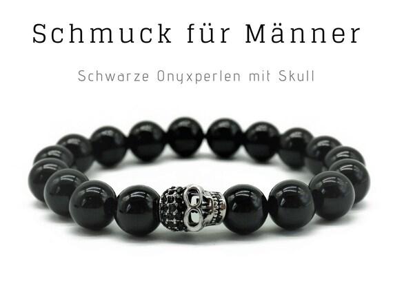 Black Pearl Bracelet | Onyx | Skull | Skull | Male Jewellery | Men'S Bracelet | Gift for Man | Bracelet for Man
