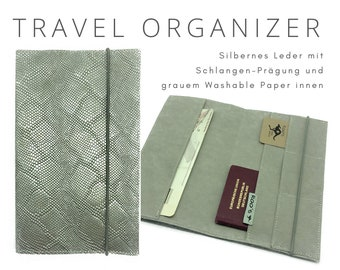 Silver travel case in leather | Travel Organizer Case | Document | Travel cover | Travel case passport sleeve snake print