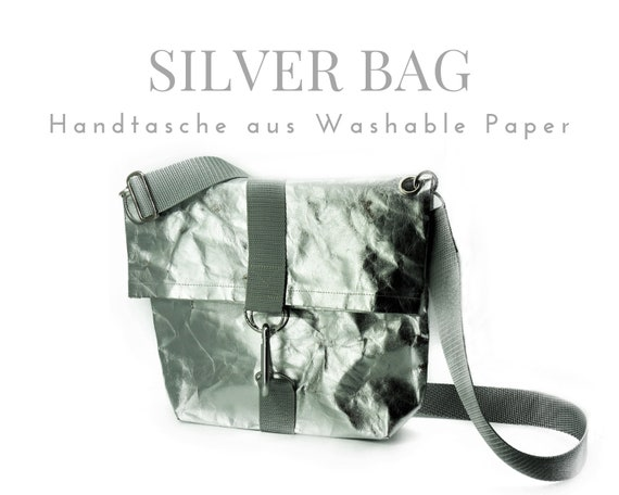 Silver bag from Washable Paper | Shoulder bag | Crossbody Bag | Handshake hand line | SnapPap