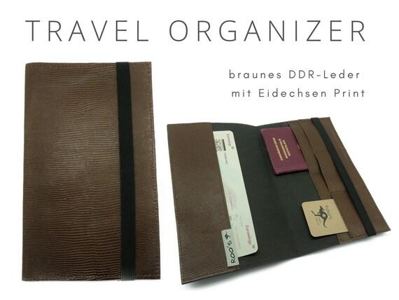 Brown Journey Case in GDR leather | Travel Organizer Case | Document Folder | Reisehülle | Ostalgie Travel Case Pit Case