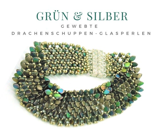 Woven Bracelet | Beads like shimmering dragon scales | Magnetic Closure | Rainbow Colors | Green Silver