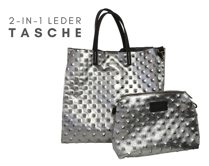 Edle 2-in-1 Ledertasche | Silber Platin | Noppen | glänzend | große und kleine Tasche | Shopper und Crossbody-Tasche | Echtes Leder