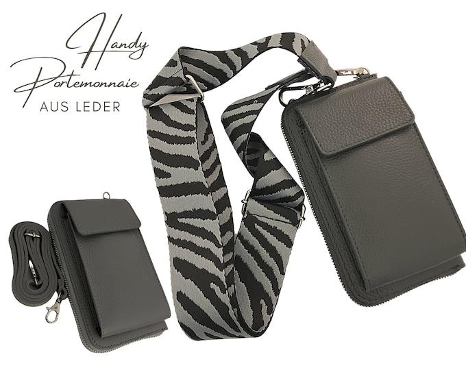 Dark grey mobile phone wallet | | Wallet | wallet Leather | Shoulder bag | | phone case narrow or XXL strap | Zebra pattern grey