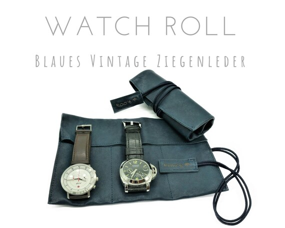 Blue 3 Series Watch Roll | Vintage Goat's leather | Gift for Men | Wristwatches Roll 3 watches | Travel Watches Storage | Watch roll leather