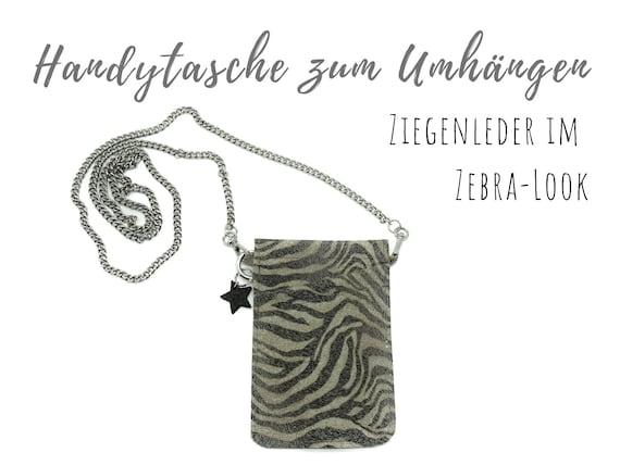 Mobile phone bag for cloting | Crossbody phone case | Zebra | Mobile phone handheld bag | Cross Body leather sleeve | Mobile phone chain | Gift