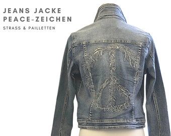 Denim jacket with peace sign on the back | silver sequins | Glitter | Hippie | Boho | washed-out short jacket | Gr. L