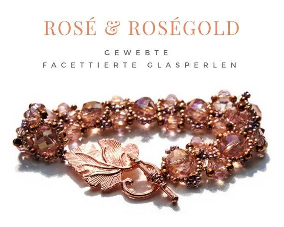 Woven Bracelet | Faceted Glass Beads | Rose Gold Rosa · Gag Closure | Vine leaf