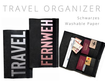 Black Travel Case from Washable Paper | Travel Organizer Case | Document | Travel cover | Vegan leather | Travel case passport sleeve