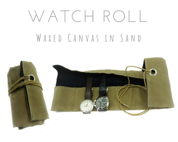 Beige 7 Series Watch Roll | Waxed Canvas | Gift for Men | Wristwatches Roll 7 watches | Travel Watches Case | Watch roll cotton lined