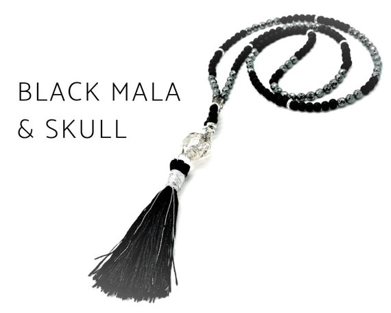 Black mala necklace with Crystal Skull | Skull Skulls Skull made of crystal | Tassel | Silver | Hematite | Mala | Prayer Chain