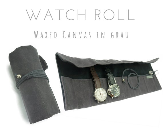Grey 7 Series Watch Roll | Waxed Canvas | Gift for Men | Wristwatches Roll 7 watches | Travel Watches Case | Watch roll cotton lined