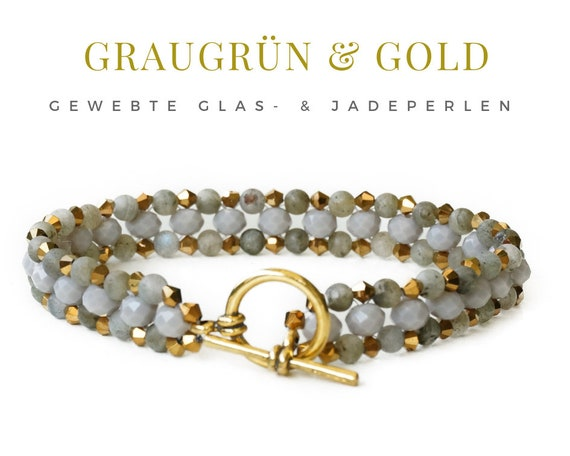 Woven Bracelet | Green Jade Beads | Gold | Faceted Glass Beads | Pearl Bracelet | Toggle Lock