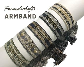 J'ADORE Friendship Bracelet | Gift Valentine's Day | Webband | knotted woven embroidered bracelet | Tassels | Web bracelet | Lettering