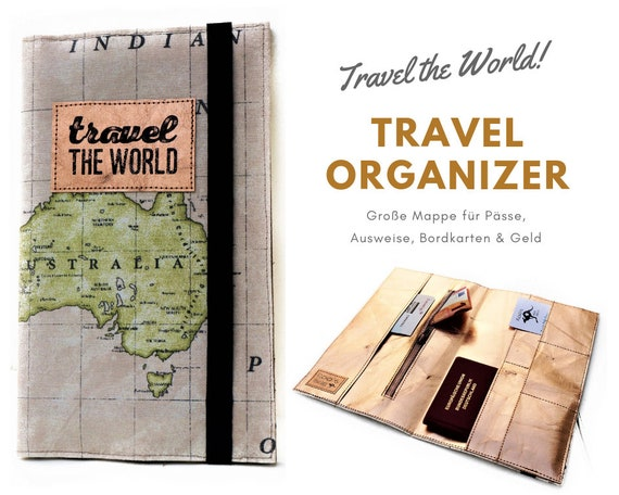 Travel Organizer | World Map | Australia | Rose Gold | Travel Documents Case | Map | Traveller | Passport Cover | In the Set & cosmetic bag
