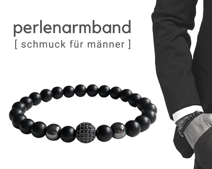 Black beaded bracelet   Onyx   Zirconia jewellery bead   Men's jewellery   Men's bracelet   Gift for husband   Bracelet for man