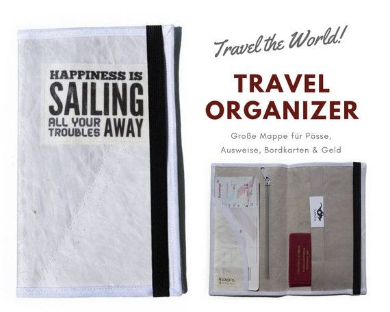 Travel Organizer from Sailing   Travel Documents Etui   Document folder   Traveller   Reisehülle   Upcycling Product   Passport Case   Map