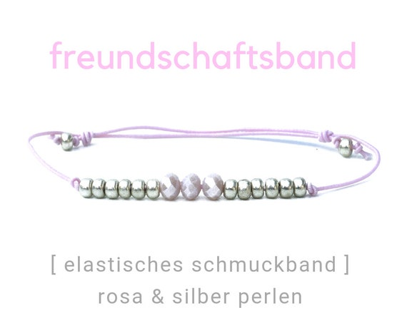 Elastic Friendship Band | Jewelry Band | Pink | Silver and Pink Beads | Rubber | Sliding knots | Wish Band