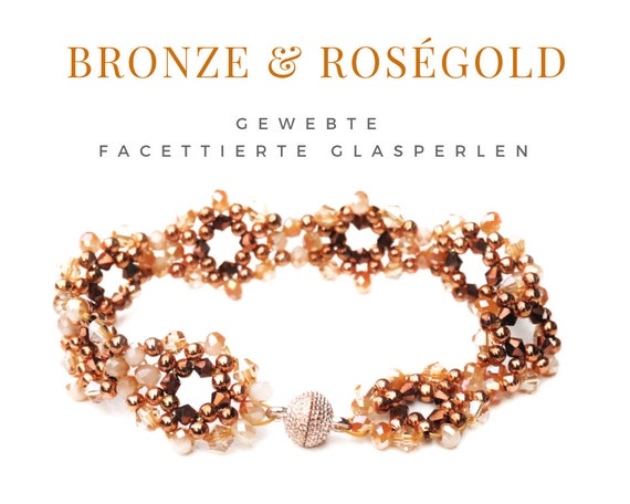 Rose gold beaded bracelet | faceted glass beads | rose gold copper beige | Pearls | Magnetic closure | Pearl Bracelet | beadwork