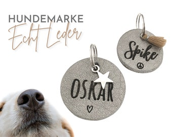 Silver dog tag | Dog trailer | Dog jewelry made of leather | Name | personalized ID brand | Leather Tag Engraved Laser Font