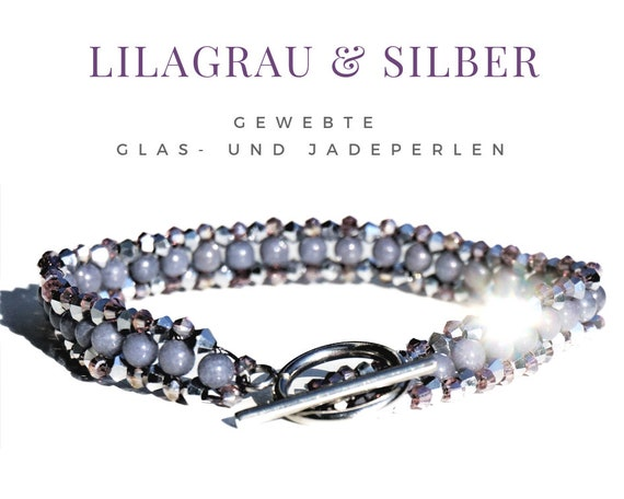 Woven Bracelet | Pearls | Faceted Glass Beads | Jade | Purple Grey Silver | Toggle Buckle Silver | Pearl Bracelet