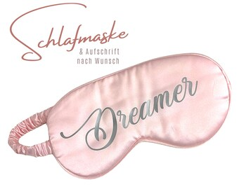 Pink Sleep Mask | Pure silk | Personalizable | Your desired text | Gift Valentine's Day Wedding | noble sleeping goggles