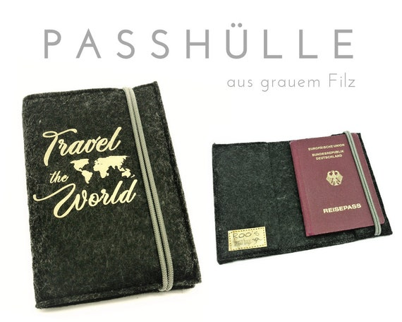Felt Passhülle | Grey Gold Travel Organizer |  Case, portfolio for passport, ID cards, driver's license, credit card, business card