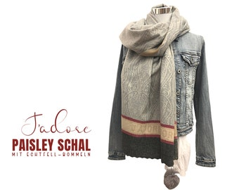 Grey Paisley Scarf | J'adore | | with brown real fur pompms Viscose wool | discreetly patterned | Cloth