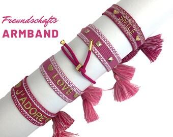 JADORE LOVE SMILE Friendship Bracelet | pink gold | Canvas Webband | Ribbon | knotted woven embroidered bracelet | Tassels