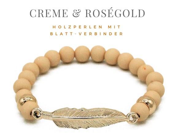 Elastic Bracelet | Creme & Rose Gold | Leaf and Wood Beads | Elastic Bracelet | Gilded beads