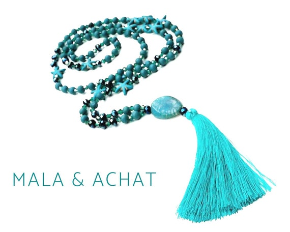 Turquoise Mala Necklace with agate pendant and tassel | Starfish | Faceted Glass Beads | Boho | Prayer Chain | Yoga | 108