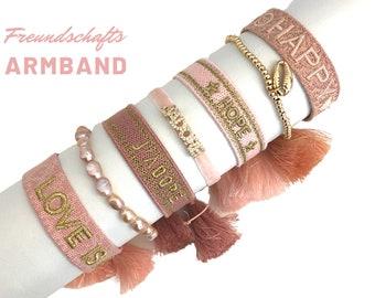 Pink Friendship Bracelet | Webband | knotted woven embroidered bracelet | Ibiza tassels | Web bracelet | HAPPY | Love