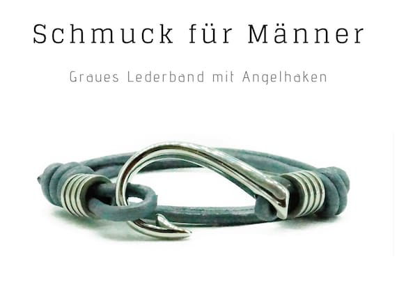 Grey Wrap Bracelet with silver Fishing Hook | Leather Ribbon Stainless Steel | Male Jewellery | Men'S Bracelet | Gift for Man | Bracelet for Man