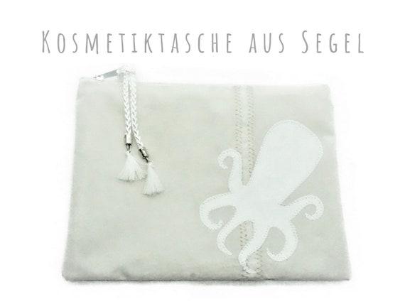White cosmetics bag from sail & Octopus motif | Octopus | Flat makeup bag | Upcycling | Make-up bag | Sailing bag