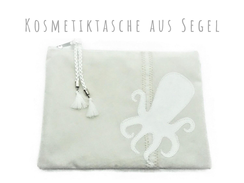 Weiße Kosmetiktasche Aus Segel Octopus Motiv Krake Flache Make