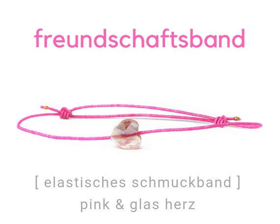 Elastic Friendship Band | Jewelry Band | Pink | Faceted Heart | Rubber | Sliding knots | Wish Band | Heart
