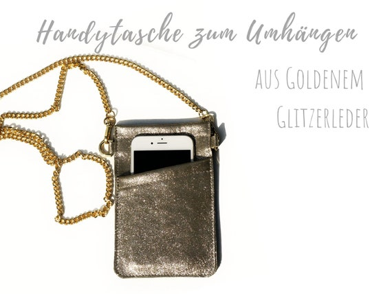 Crossbody phone case | Real leather | Mobile phone handheld bag | Breast bag | Glittering leather | Gold | Leather sleeve | Cross Body Bag | Mobile phone chain