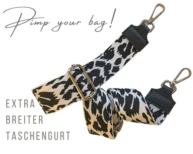 Extra wide strap for handbag   Black White   5 cm wide   Crossbody Bag   XXL Belt   adjustable   pimp you bag   Replacement belt   Leo