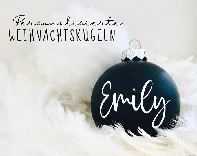 Personalized Christmas ball | 8 cm diameter | black and white | matt glossy