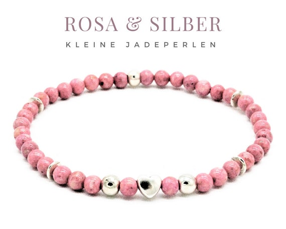 Elastic Bracelet | Pink & Silver | Jade Beads | Silver-plated Heart Beads | Very small Beads | Tender bracelets