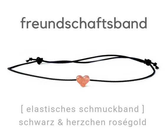 Elastic Friendship Band | Jewelry Band | Roségoldenes Heart | Black | Rubber band | Sliding knots | Wish Band | Elastic band | Heart