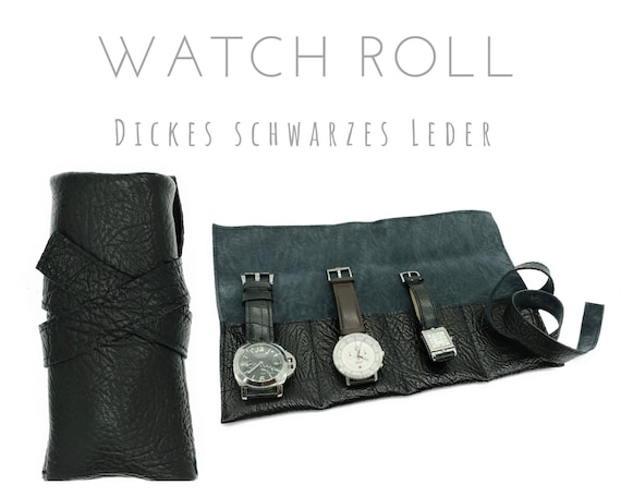 Black 4er Watch Roll in Vintage Calf-Leather | Gift Men | Watch bag | Travel Wristwatches Case | Watch Roll | Leather Roll