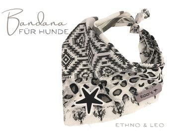 Dogs neckerchief LEO ETHNO | Bandana | Turning triangular cloth | for binding | black and white | black star | Hippie Boho | Gr.M