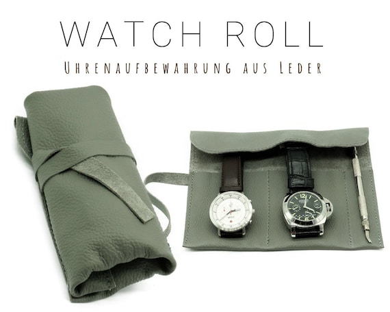 Grey Watch Roll | Gift for Men | Wristwatches roll for 2 watches | Travel Watches storage made of leather | Watch roll | Leather Roll Nappa
