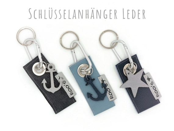 Leather keychain with anchor or star | Alu-Karabiner | Flat key ring