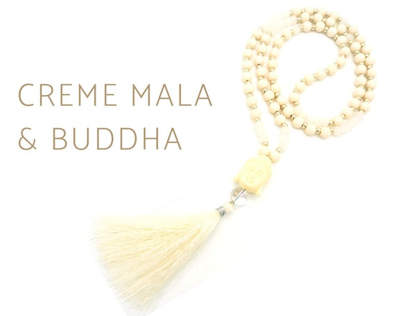 Cream mala necklace with Buddha head made of beige wood beads with silk tassel |  | Silver Beads | Prayer Chain | Buddha | Yoga | White | 108