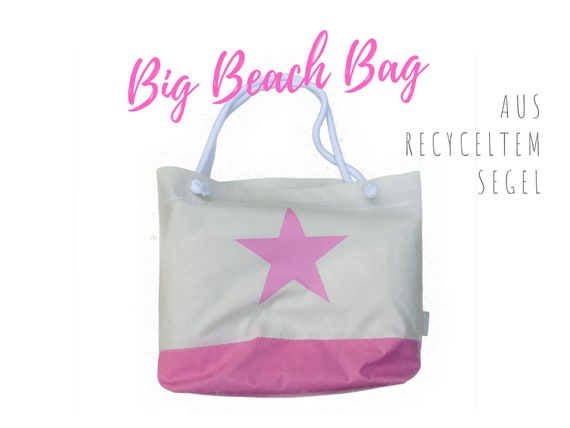 Beach bag from recycled sail | Beach Bag | Large white bag with star in pink | Sailing bag